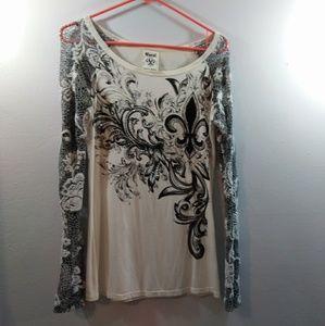 Vocal Rinestone Bling Long Sleeve Shirt Top Creme